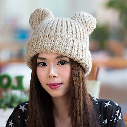 Punto Invierno 2 Mano Hechos de Grueso Auge Gorros a Maozi Hip Coreano Hop Lindo de 3 Sombreros Lana del del señoras PxtTO