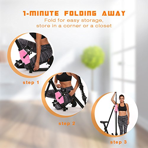 ANCHEER Vertical Climber Folding Exercise Climbing Machine, Exercise Equipment Climber for Home Gym, Exercise Bike for Home Body Trainer (Pink) by ANCHEER (Image #4)