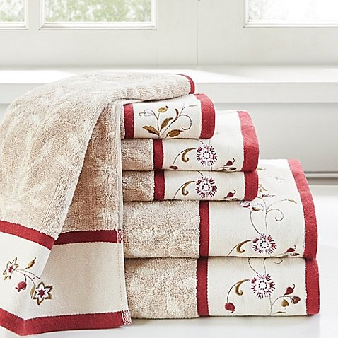 Madison Park Serene Cotton Jacquard Bath Towels in Red (Set of 6)