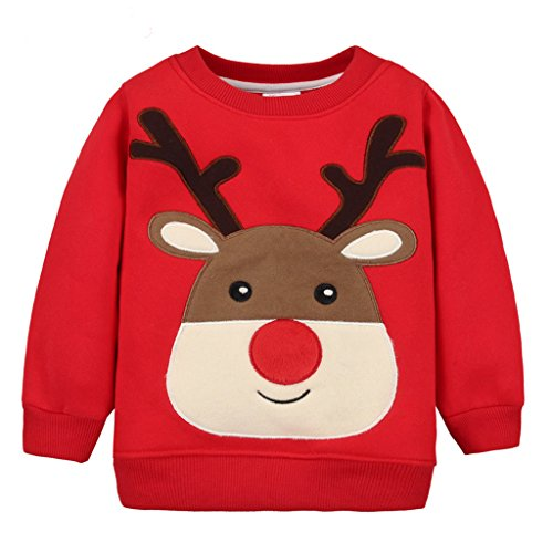 Amazon.com : Baby Pullover Fleece Sweatshirts Christmas Deer Thicken Tops For Boys Girls : Baby