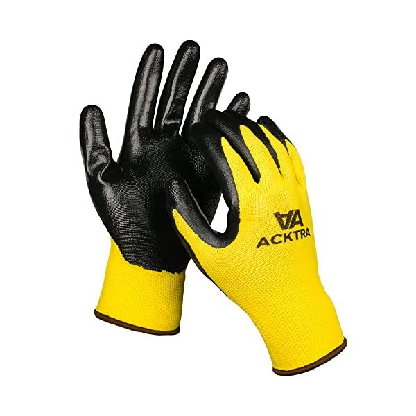 ACKTRA Nitrile Coated Nylon Safety WORK GLOVES 12 Pairs, Knit Wrist Cuff, Multipurpose, for Men & Women, WG003 Grey… 3
