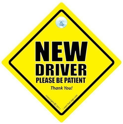 DRIVING iwantthatsign.com New Driver Car Sign, P Plate Sign, New Driver Car Sign, New Driver Please Be Patient Car Sign, Decal, Bumper Sticker, Car Test, Driving Licence, Driving Test (New Suction Cup)