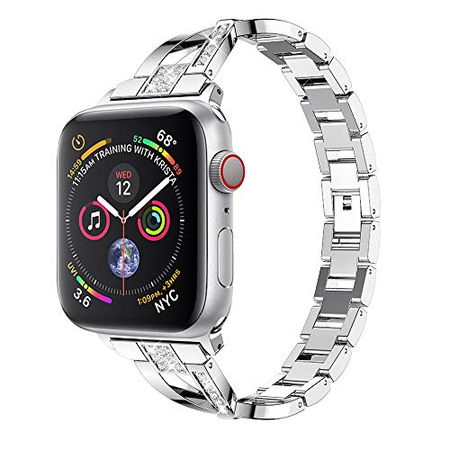 Price comparison product image Besde Compatible with for Apple Watch Series 4 40mm 44mm, Fashion Stainless Steel Diamond Sport Strap Replacement Bands for Apple Watch Series 4