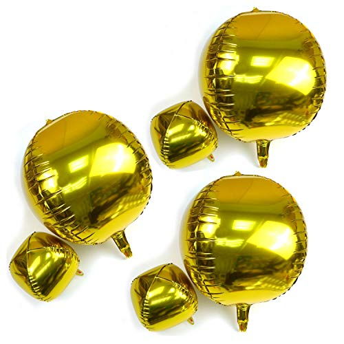 HappyMomentsClub 6pcs 22inch 10inch Gold 4D Large Round Sphere Shaped Foil Balloons Birthday Party Wedding Baby Shower Decoration Background]()