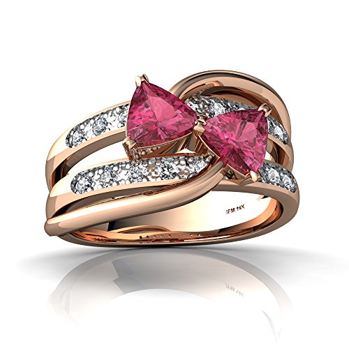 14kt Rose Gold Pink Tourmaline and Diamond 5mm Trillion Bowtie Ring - Size 8