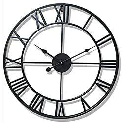 Ningyi683 DIY Large 3D Wall Clock Sticker Metal Watches Roman Numeral Silent Non-ticking Decorative For Cafe Loft Hotel Bar Office Living Room Bedroom Kitchen