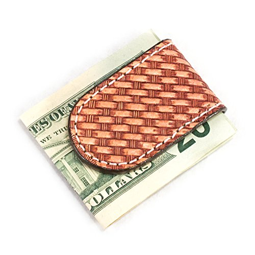 Genuine Leather Basketweave Magnetic Money Clip With Strong Rare Earth Magnets