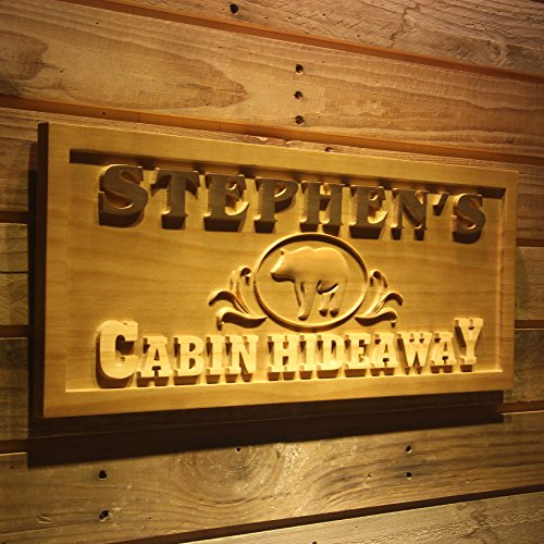 AdvPro Wood Custom wpa0171 Name Personalized CABIN HIDEAWAY Bear Decoration Wood Engraved Wooden Sign - Standard 23