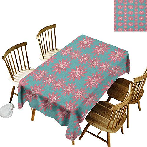 DONEECKL Outdoor dust-Proof Tablecloth Daily use Germinating Plants Wildflowers Twigs Sprouts Buds Lively Rustic Patio Print Teal Pink White W60 xL84