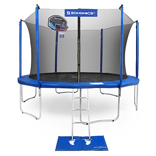 SONGMICS Outdoor Trampoline 14-Feet for Kids with Basketball Hoop and Backboard Enclosure Net Jumping Mat and Safety Spring Cover Padding TÜV Rheinland Certificated According to ASTM and GS USTR14BU (Best Trampoline Basketball Hoop)