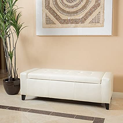 Guernsey Faux Leather Storage Ottoman Bench Ivory