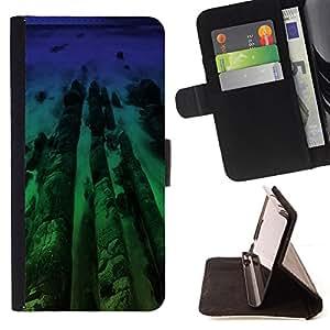 BullDog Case - FOR/Samsung Galaxy S4 IV I9500 / - / Neon Beach Wood /- Monedero de cuero de la PU Llevar cubierta de la caja con el ID Credit Card Slots Flip funda de cuer