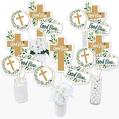 Elegant Cross - Religious Party Centerpiece Sticks - Table Toppers - Set of 15 ()