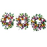 Solar Butterfly Wreaths Outdoor Railing Decoration - Set of 3