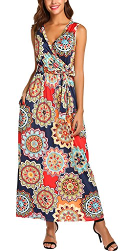 (SimpleFun Women's Sleeveless Loose Boho Maxi Dresses Casual Long Dresses with Pockets(Orange,L))