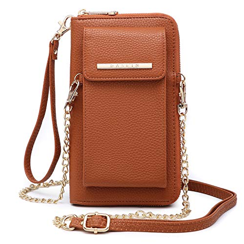 - Cellphone Wallet Purse Phone Pouch Wristlet Clutch Crossbody Shoulder Bag - 12 Slots (Brown Color)