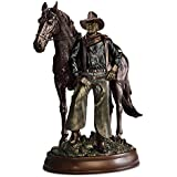 John Wayne with His Horse In a Cold Cast Bronze Sculpture by The Bradford Exchange