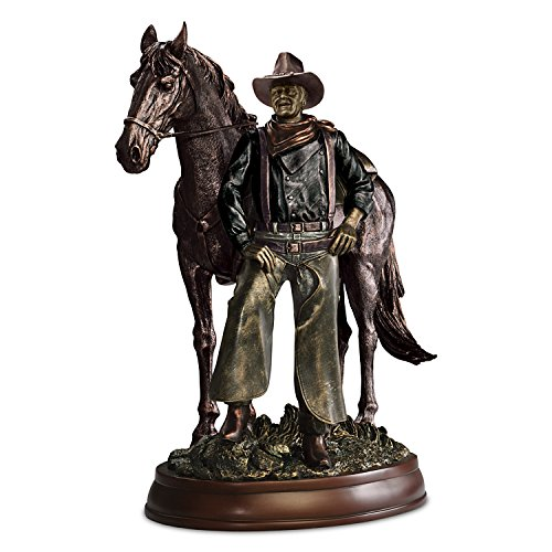 - John Wayne with His Horse In a Cold Cast Bronze Sculpture by The Bradford Exchange