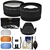 Essentials Bundle for Canon Rebel SL1, T5, T5i, T6, T6i, T6s, T7i Camera & 18-55mm Lens + Telephoto & Wide-Angle Lenses + 3 UV/CPL/ND8 Filters + 4 Diffusers + Lens Hood Kit