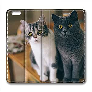 Iphone 6 leather Case,Iphone 6 Cases ,A black and white cats Custom Iphone 6(4.7)High-grade leather Cases