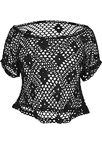 Urban Classics Top Corto de Malla para Chicas Camiseta Mujer Naranja neón schwarz