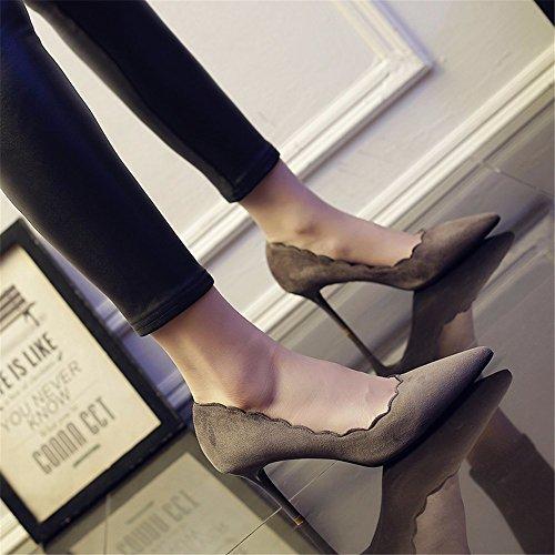 HXVU56546 La Primavera Y El Otoño, Los Zapatos De Tacón Alto Con Puntiagudas Boca Superficial Con La Moda Del Calzado De Trabajo Gray