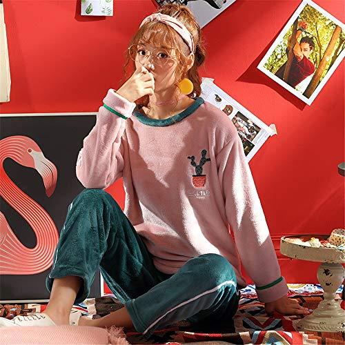 Baijuxing Suelto Casual Servicio De Pijamas Lindo Invierno Otoño Coral Piezas Camisón Pantalones Polar Traje Franela Manga Mujer A 2 Grueso Domicilio M L Larga E rHZawrWx