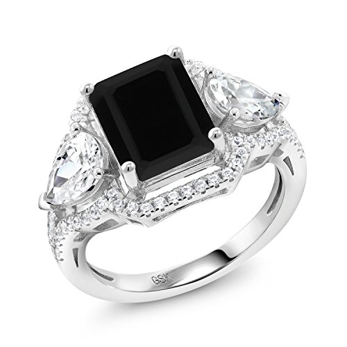 Gem Stone King Black Onyx 925 Sterling Silver Women's Ring 3.92 Ct Emerald Cut (Size 9)