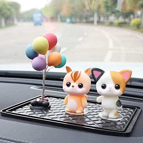 (guangya Boutique Creative Anime Ornaments Cute car Ornaments Colorful Balloons + Orange Squirrel + Flower cat + Small Square pad)