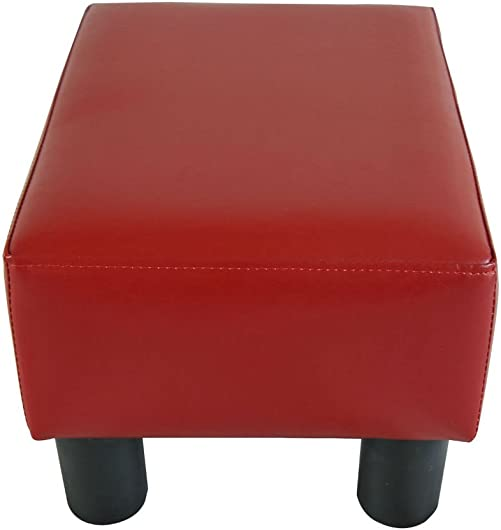 Modern Faux Leather Ottoman Footrest Stool Foot Rest Small Chair Seat Sofa Couch Wine red