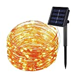 T-EASY Solar String Lights Copper Wire(200 LEDs, Waterproof, 8 Modes),72ft 22m Starry String Lights,High Quality Bendable Copper Ambiance Lighting for Outdoor,Garden,Homes,Wedding,Christmas Party,Holiday Decoration(Warm White)