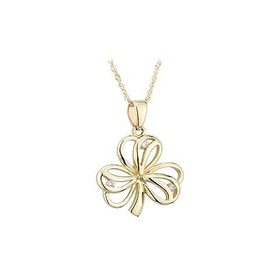 Amazon solvar 14 carat gold shamrock pendant with diamonds jewelry solvar 14 carat gold shamrock pendant with diamonds aloadofball Images