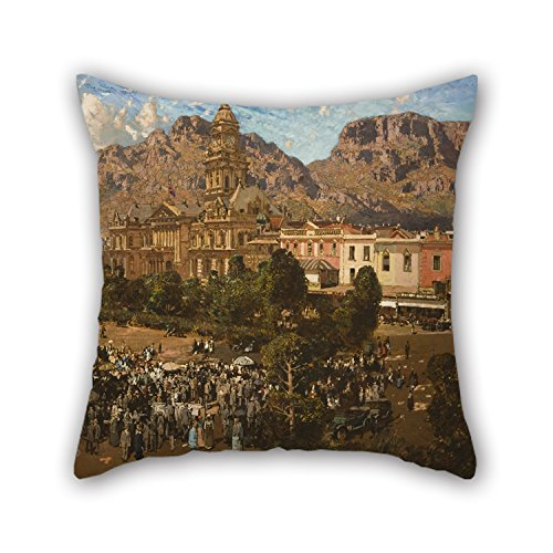 Oil Painting Robert Gwelo Goodman - City Hall, Cape Town 1917 Cushion Cases 16 X 16 Inches / 40 By 40 Cm Best Choice For Kitchen Christmas Home Office Sofa (Halloween Town City Hall)