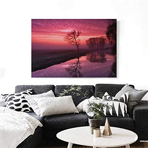 homehot Tree Art-Canvas Prints Misty Sunrise on The River Reflection Woodland Misty Morning Panoramic Picture Modern Wall Art for Living Room Decoration 36