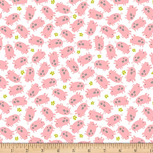 Studio E Fabrics Wildflower Farm Pigs Fabric, White, Fabric By The Yard