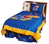 NCAA - Kansas Jayhawks 3 Piece FULL Reversible Comforter Sham Set