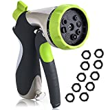 VicTsing Garden Hose Nozzle Spray Nozzle, Metal Water Nozzle with 10 Washers, Heavy Duty 8 Adjustable Watering Patterns - Slip Resistant - for Watering Plants, Cleaning, Car Wash and Showering Pets