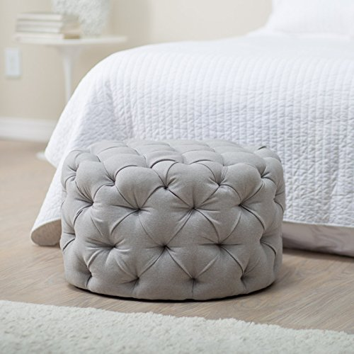 Belham Living Allover Round Tufted Ottoman Grey Buy