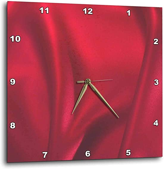 3dRose DPP_57251_1 Red Silk Classy Fashion Art Wall Clock, 10 by 10