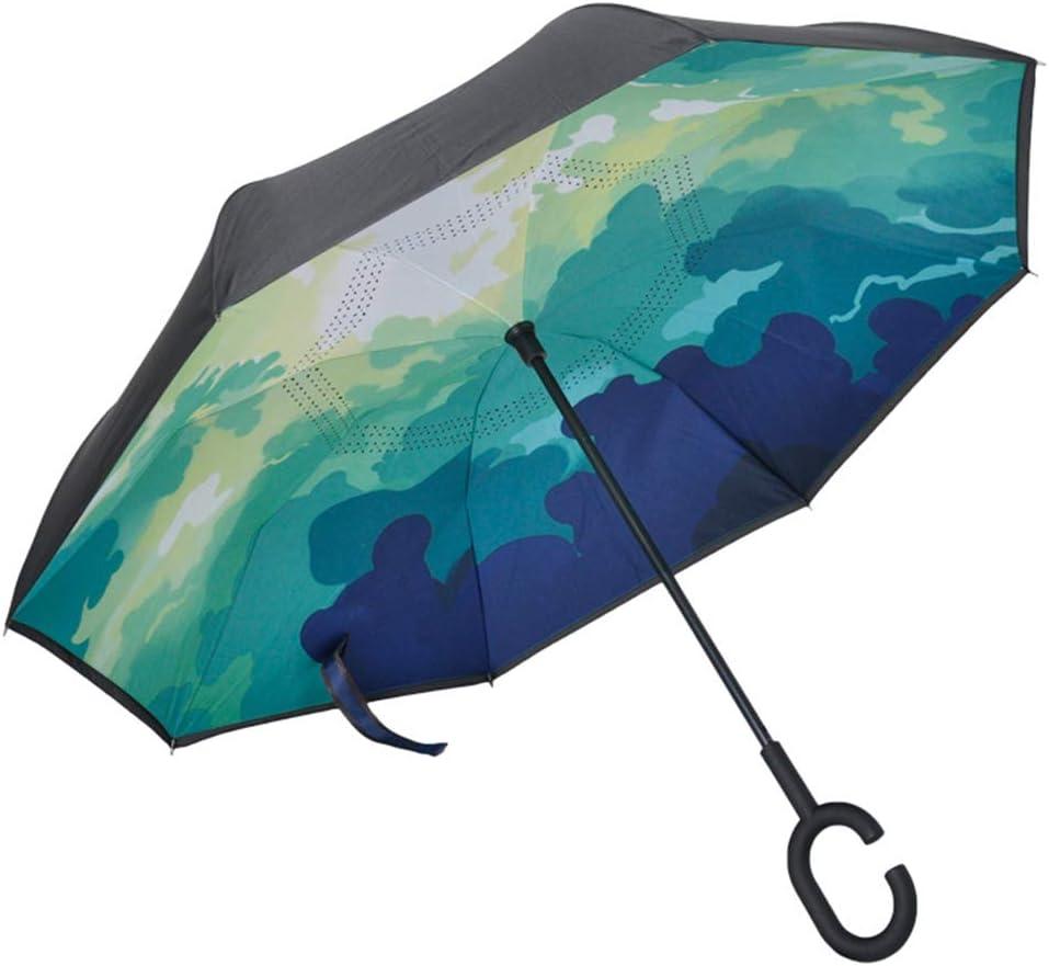 Comeyang Paraguas Compacto y a Prueba de Viento Que Abre y Cierra automáticamente el Paraguas Plegable,Vástago Recto Doble Protector Solar Color inverso paraguas10 108cm: Amazon.es: Hogar