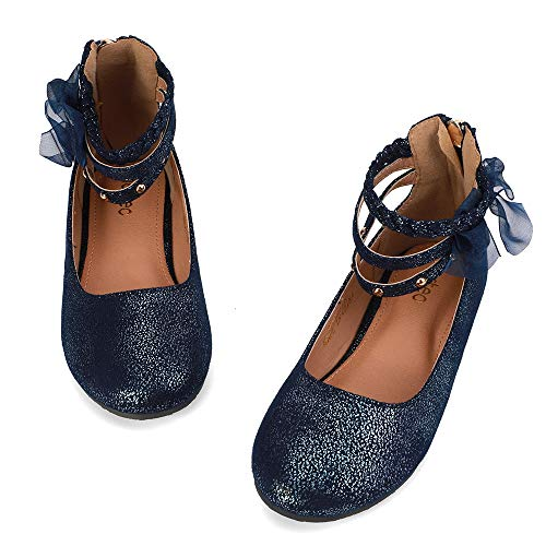 nerteo Girl's Princess Dress Shoes Ankle Strap Glitter Ballet Flats (Little/Big Kid) Navy 3 M US Little Kid