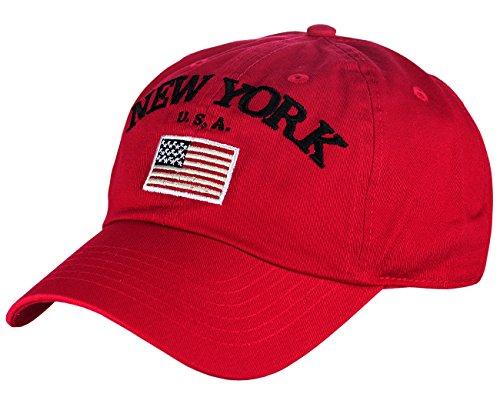 (NYFASHION101 New York USA Flag Embroidered Adjustable Low Profile Cap,)