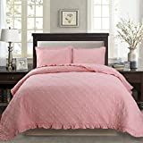 queen quilt solid pink - Kasentex Printed Pre-Washed Bedding Set, Microfiber Fabric. Queen Quilt + 2 Shams. Traditional Design, Rose Pink