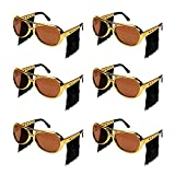 Ocean Line Elvis Sunglasses with Side Burns - 6 Pairs Rockstar Costume Aviator Glasses with Wigs, Fun Gold 70s Disco Costume Accessories