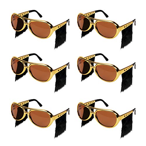 Ocean Line Elvis Sunglasses with Side Burns - 6 Pairs Rockstar Costume Aviator Glasses with Wigs, Fun Gold 70s Disco Costume Accessories -