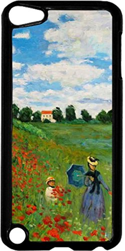 Claude Monet-The Poppy Field Near Argenteuil- Case for the Apple Ipod 5th Generation-Hard Black Plastic by Rosie Parker Inc. (Image #1)