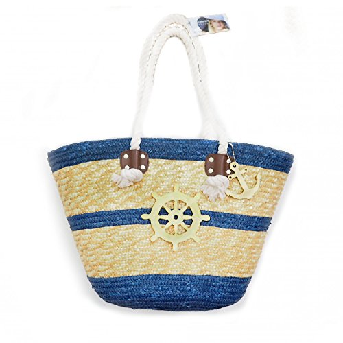 - Anchor Nautical Style Straw Tote Beach Bag