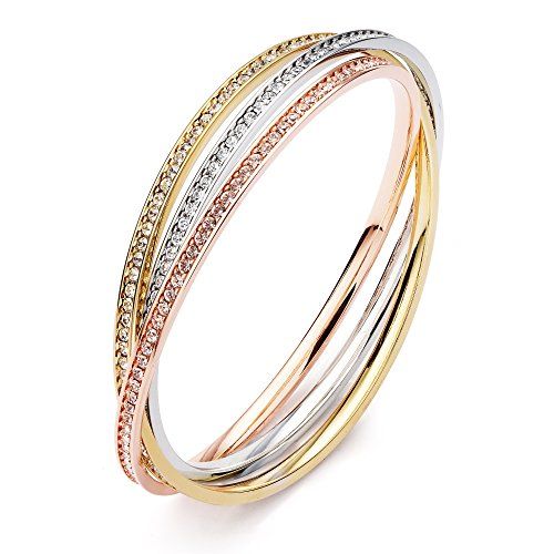 MYJS Trinity Tri-Gold Plated Interlocking Eternity Crystal Bangles (Gold Eternity Bangle)