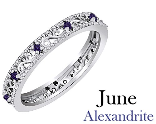 Jewel Zone US Round Cut Purple Simulated Alexandrite Stackable Ring In 14K White Gold Over Sterling (Simulated Alexandrite Ring)