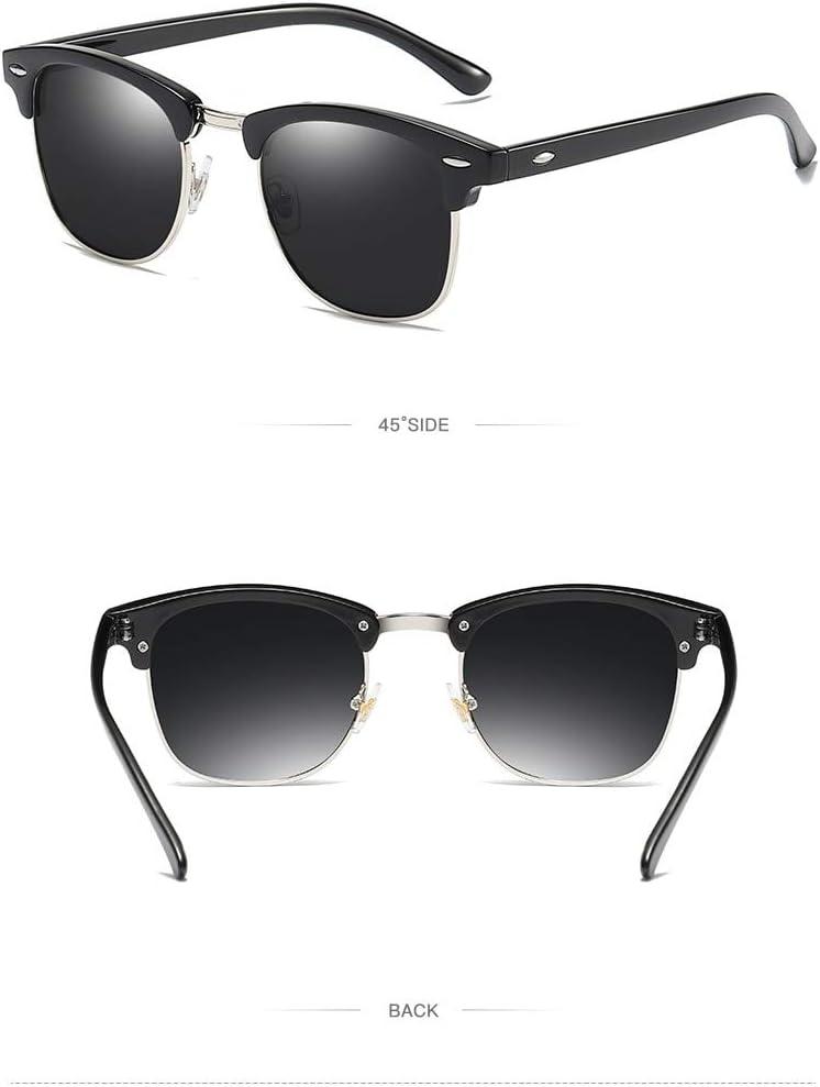 Occhiali da Sole Occhiali da Sole Semi-Rimless Classici Occhiali da Sole da Donna Polarizzati Quadrati da Uomo Occhiali retrò Uv400 da Uomo Blacksilvergray